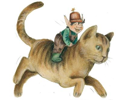 puutarhuri ratsastaa kissalla